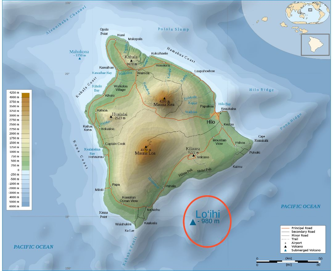Large detailed physical map of Big Island of Hawaii with roads, cities and airports