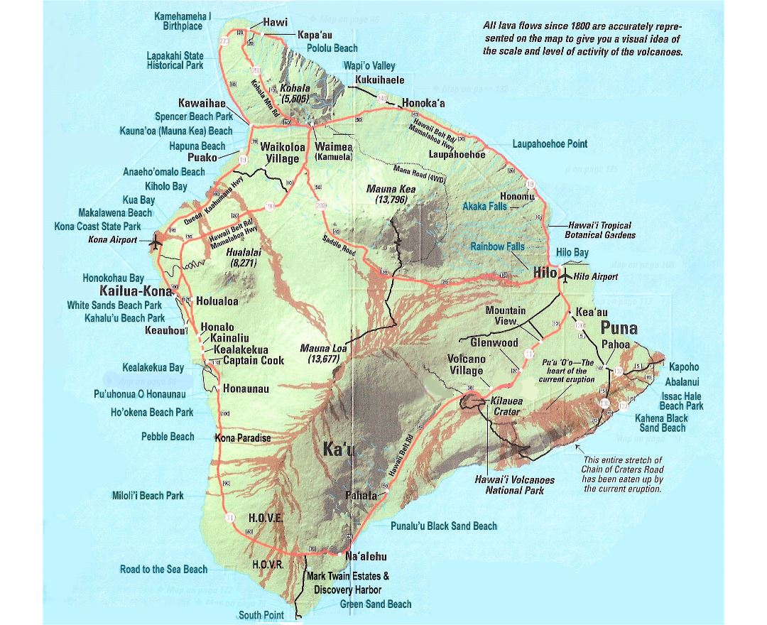 Maps of Big Island Detailed map of Big Island in English Tourist