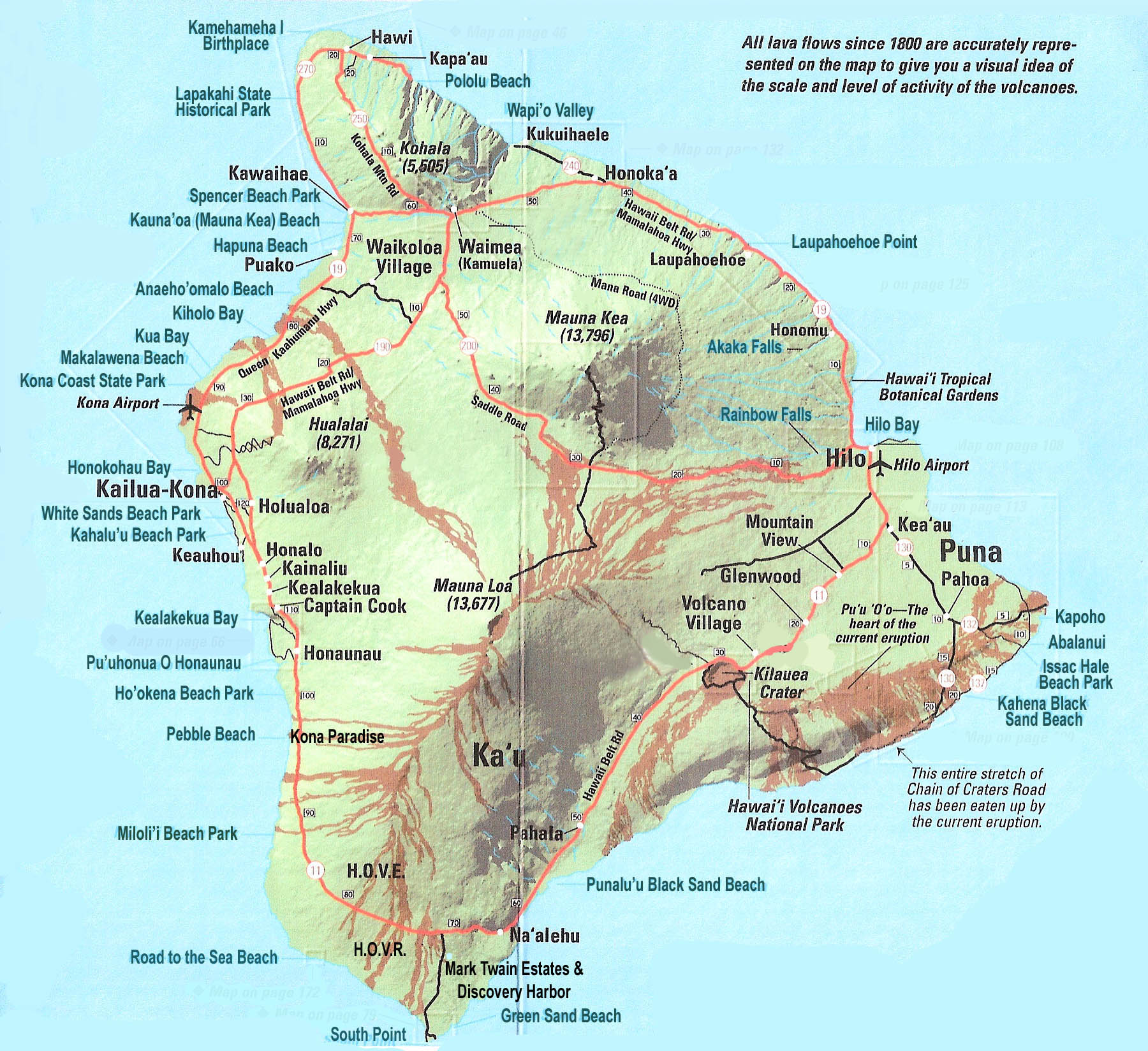 large map of big island of hawaii with relief roads and cities