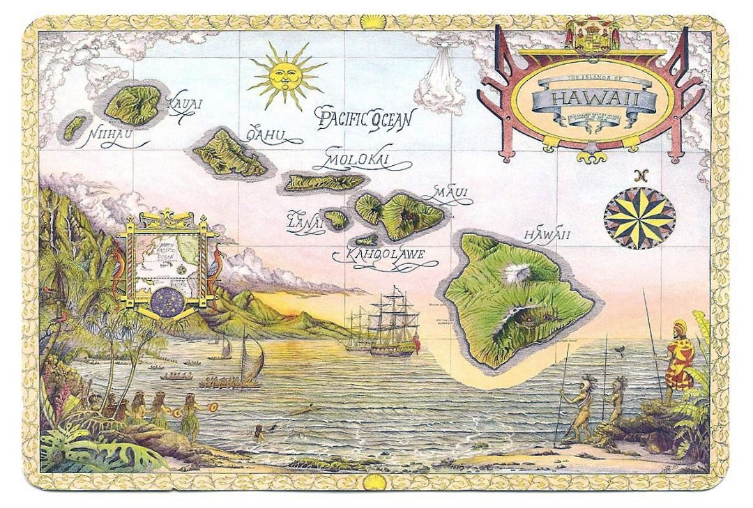 Illustrated map of Hawaii