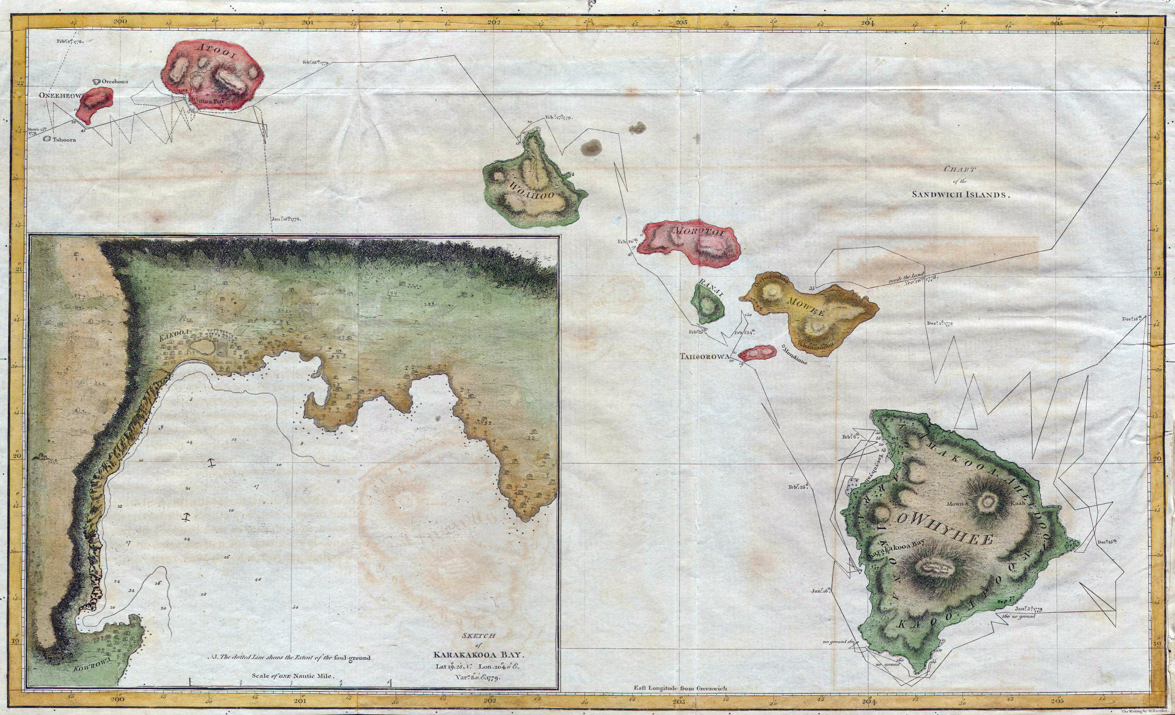 Large Detailed Old Map Of Hawaii 1785