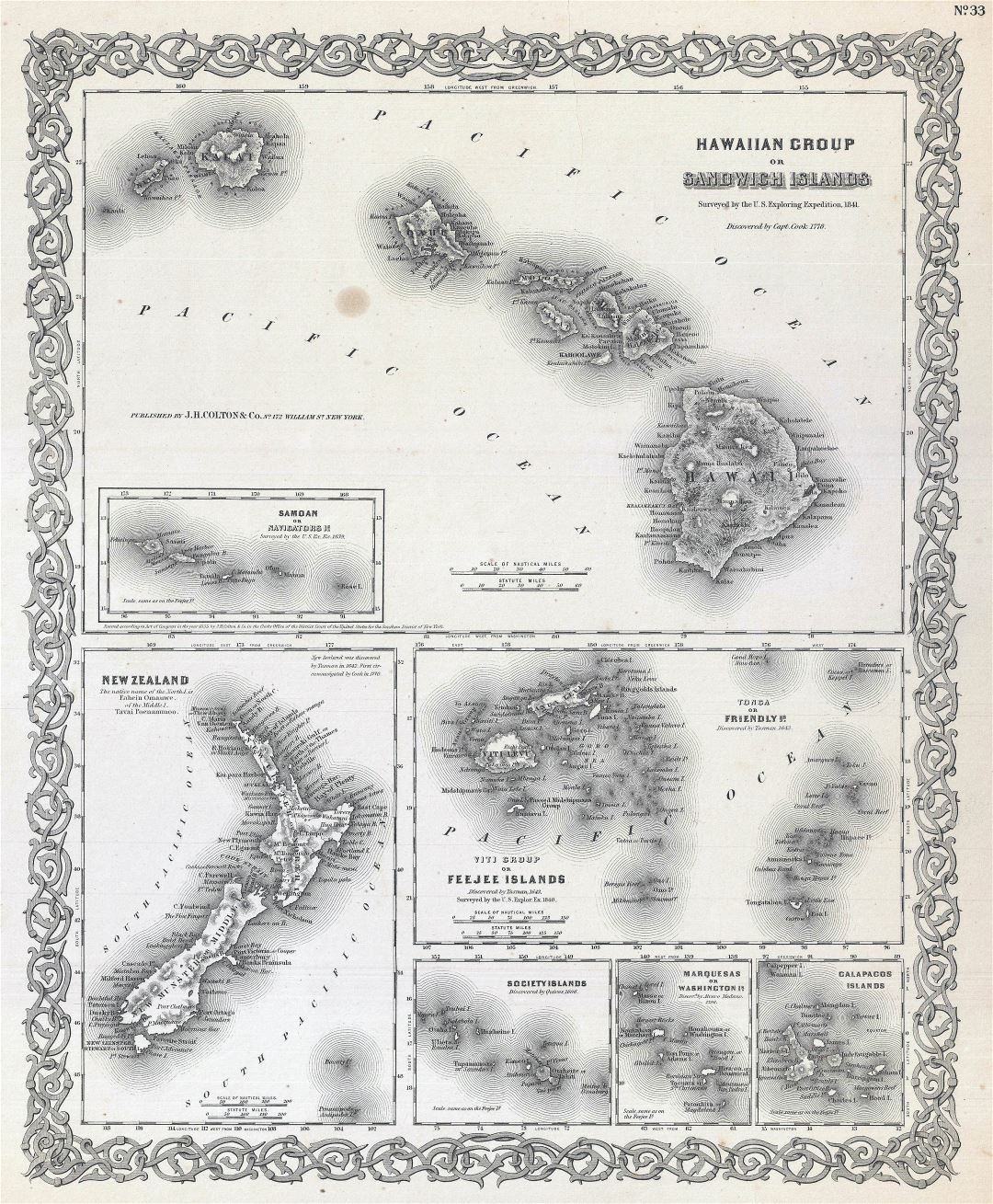 Large detailed old map of Hawaii with relief - 1855