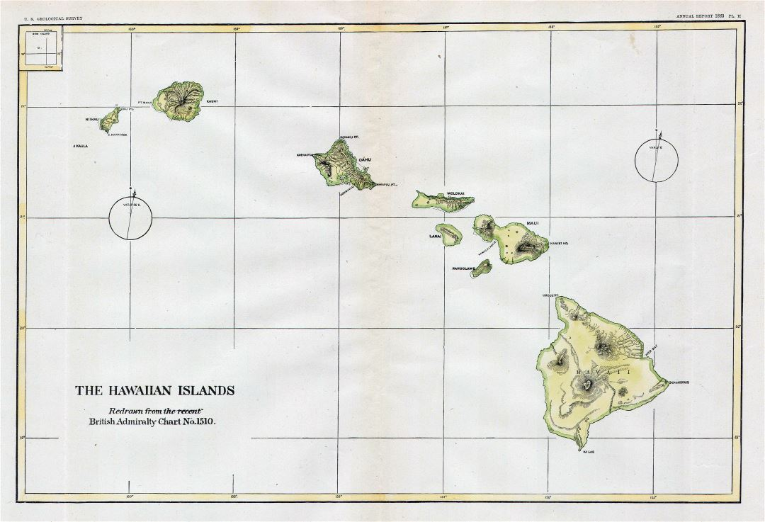 Large detailed old map of Hawaii with relief - 1883