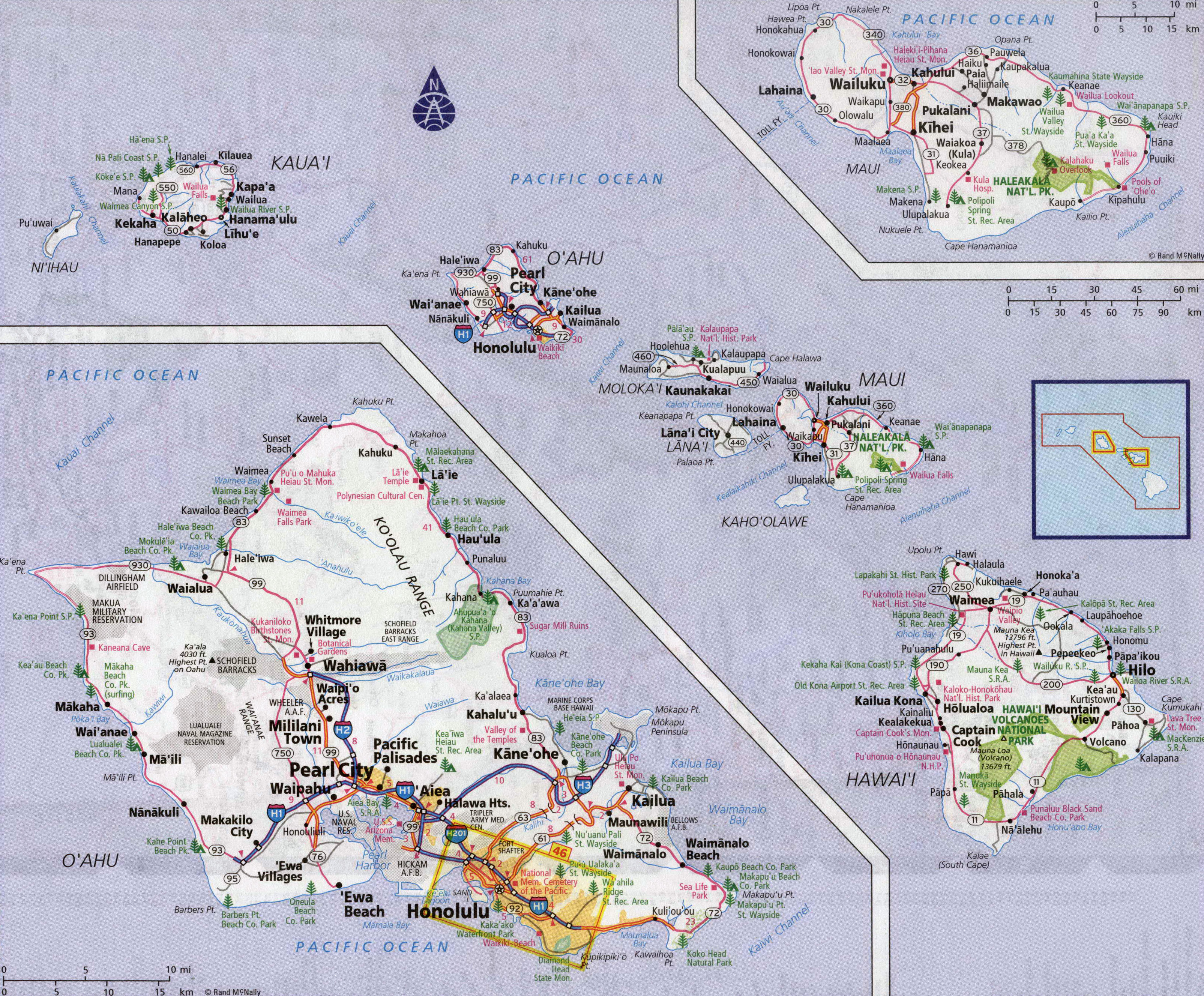 Large detailed roads and highways map of Hawaii state with all