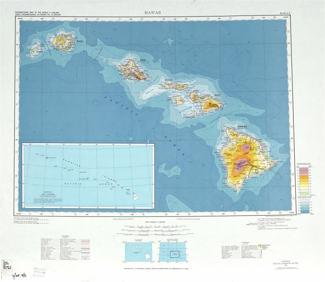 Large detailed topographical map of Hawaii state, USA