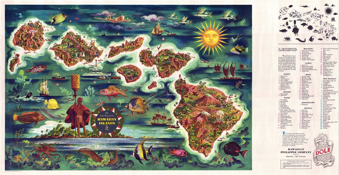 Large detailed tourist illustrated map of Hawaii by Joseph Feher Dole - 1950
