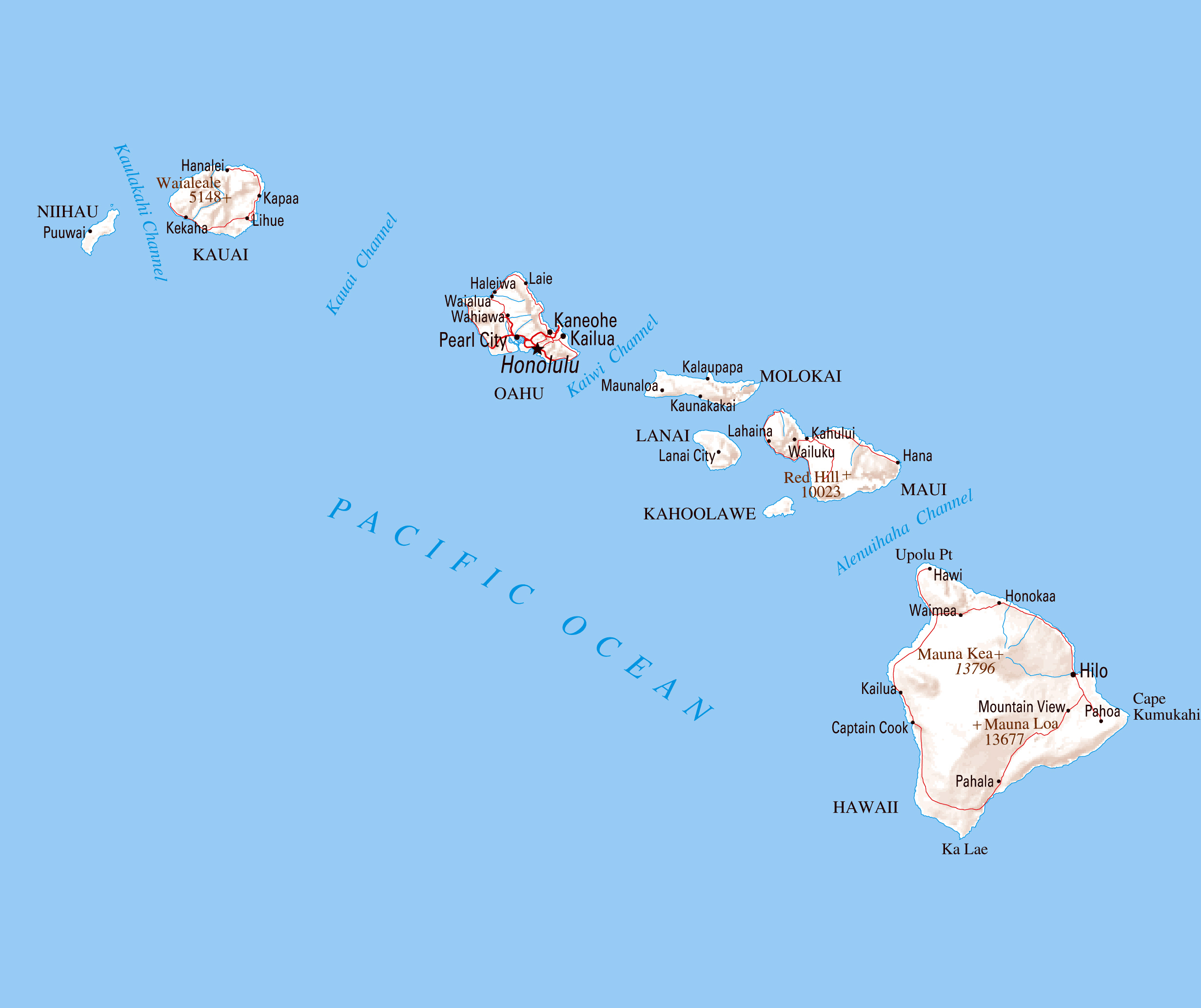 Large Map Of Hawaii State With Relief Roads And Cities Hawaii - Usa map with roads and cities
