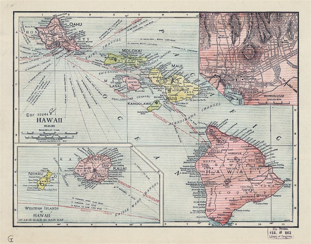 Large old administrative map of Hawaii - 1912