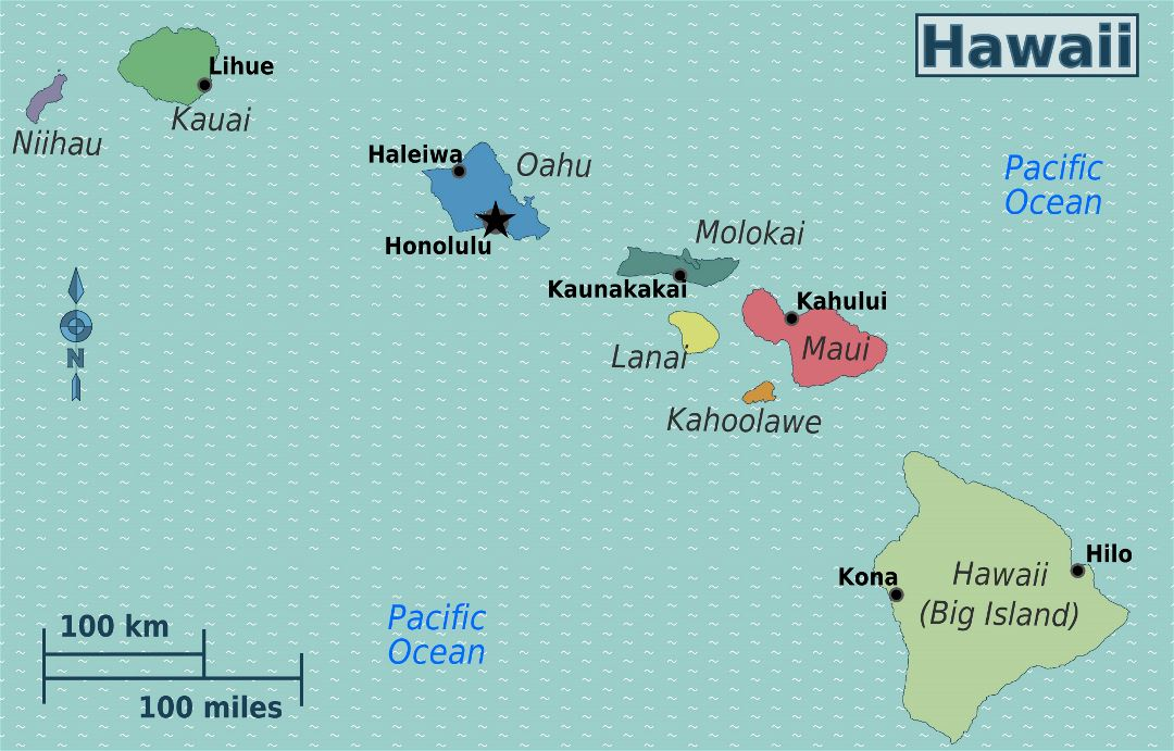Large regions map of Hawaii