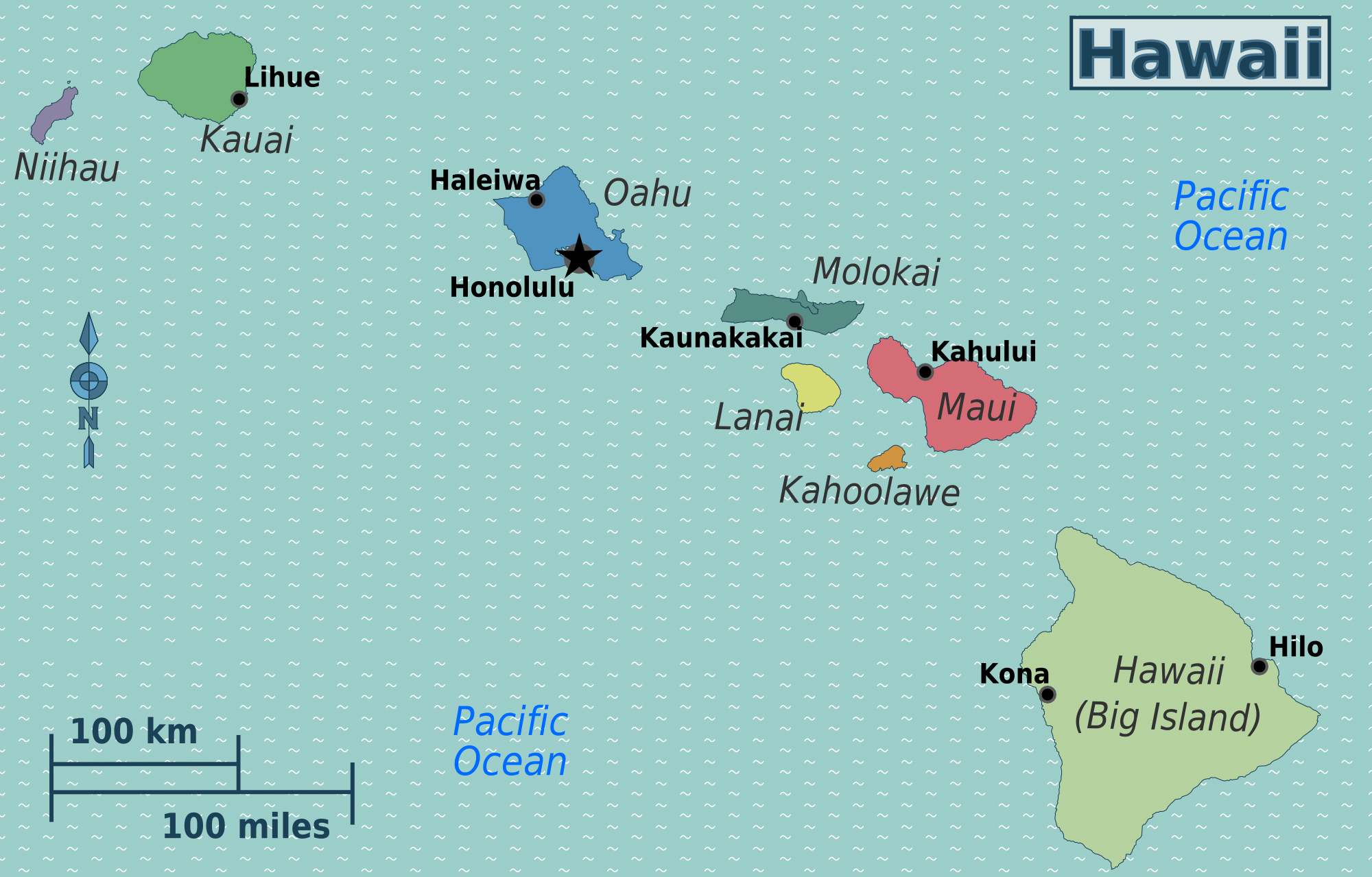 Large regions map of Hawaii | Hawaii state | USA | Maps of the USA ...