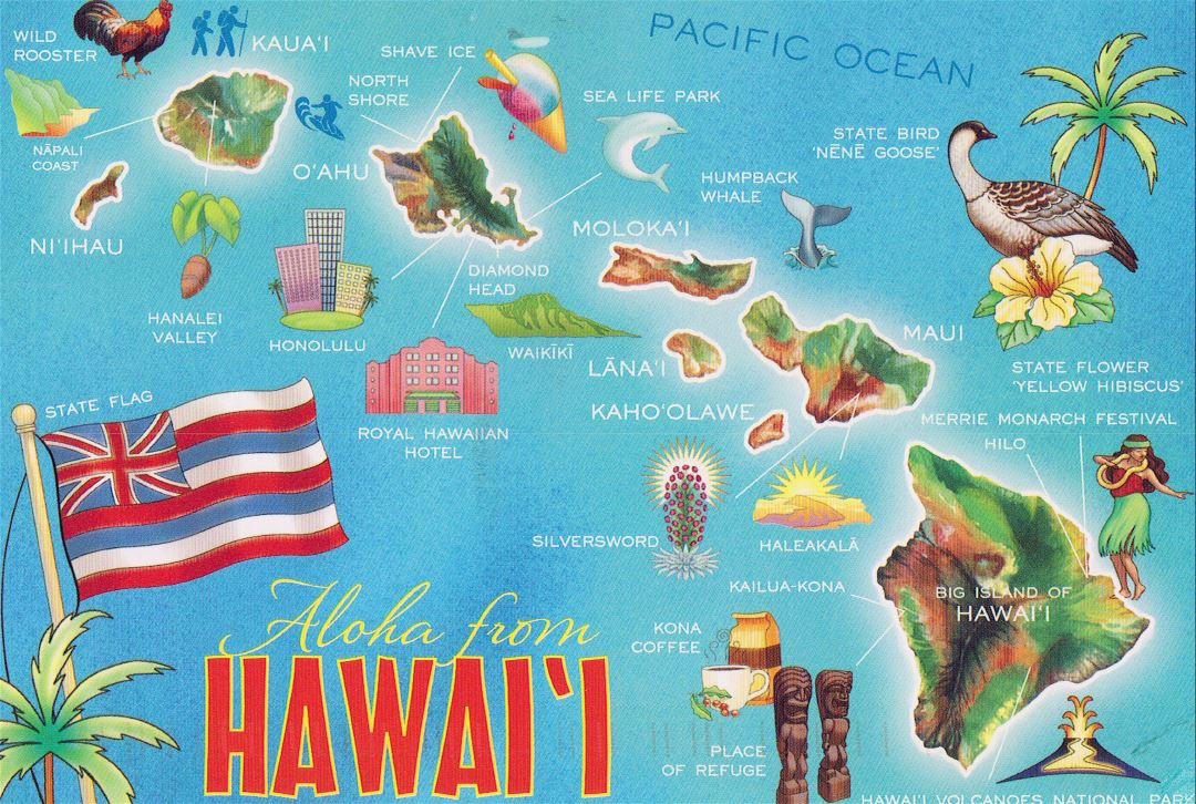 Large tourist map of Hawaii islands