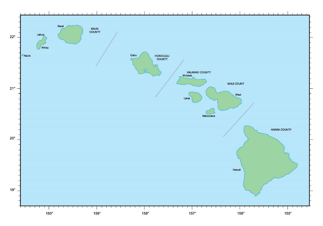Map of Hawaii islands