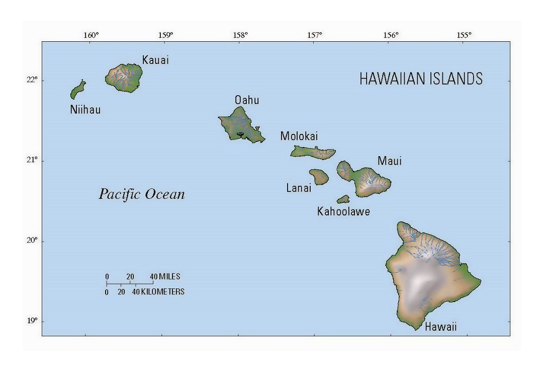 Map of Hawaii state with relief