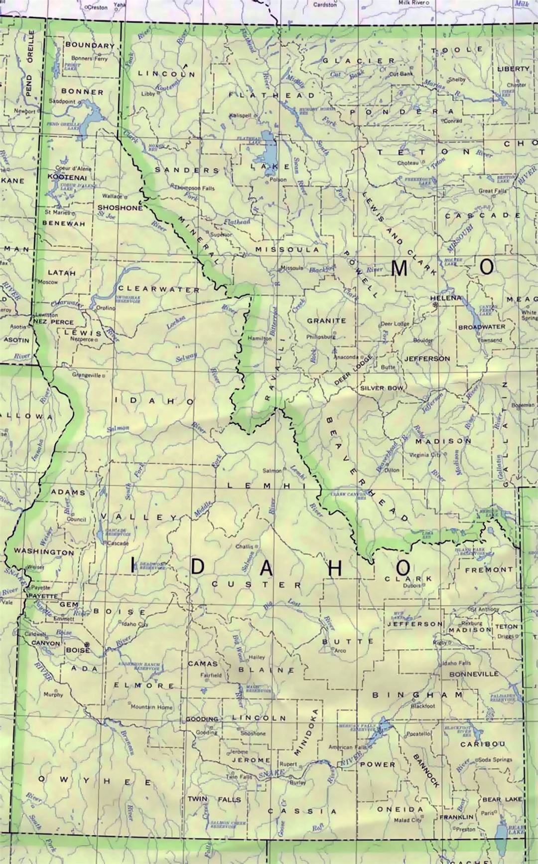 Administrative map of Idaho state