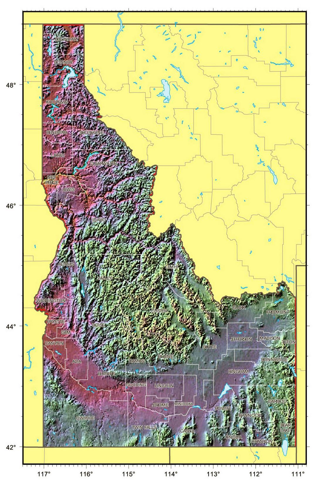 Detailed relief map of Idaho state
