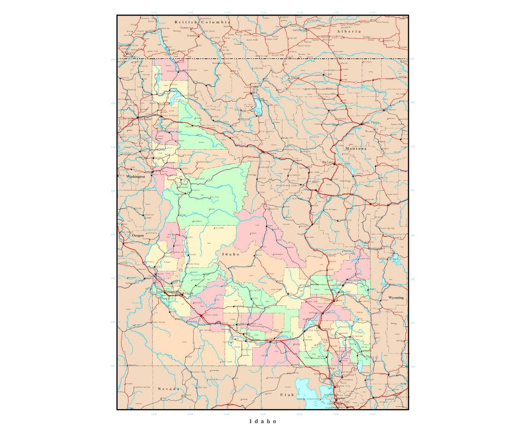 Large administrative map of Idaho state with roads, highways and major cities