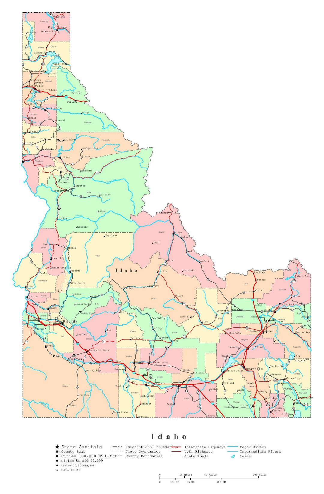 Large detailed administrative map of Idaho state with roads, highways and cities