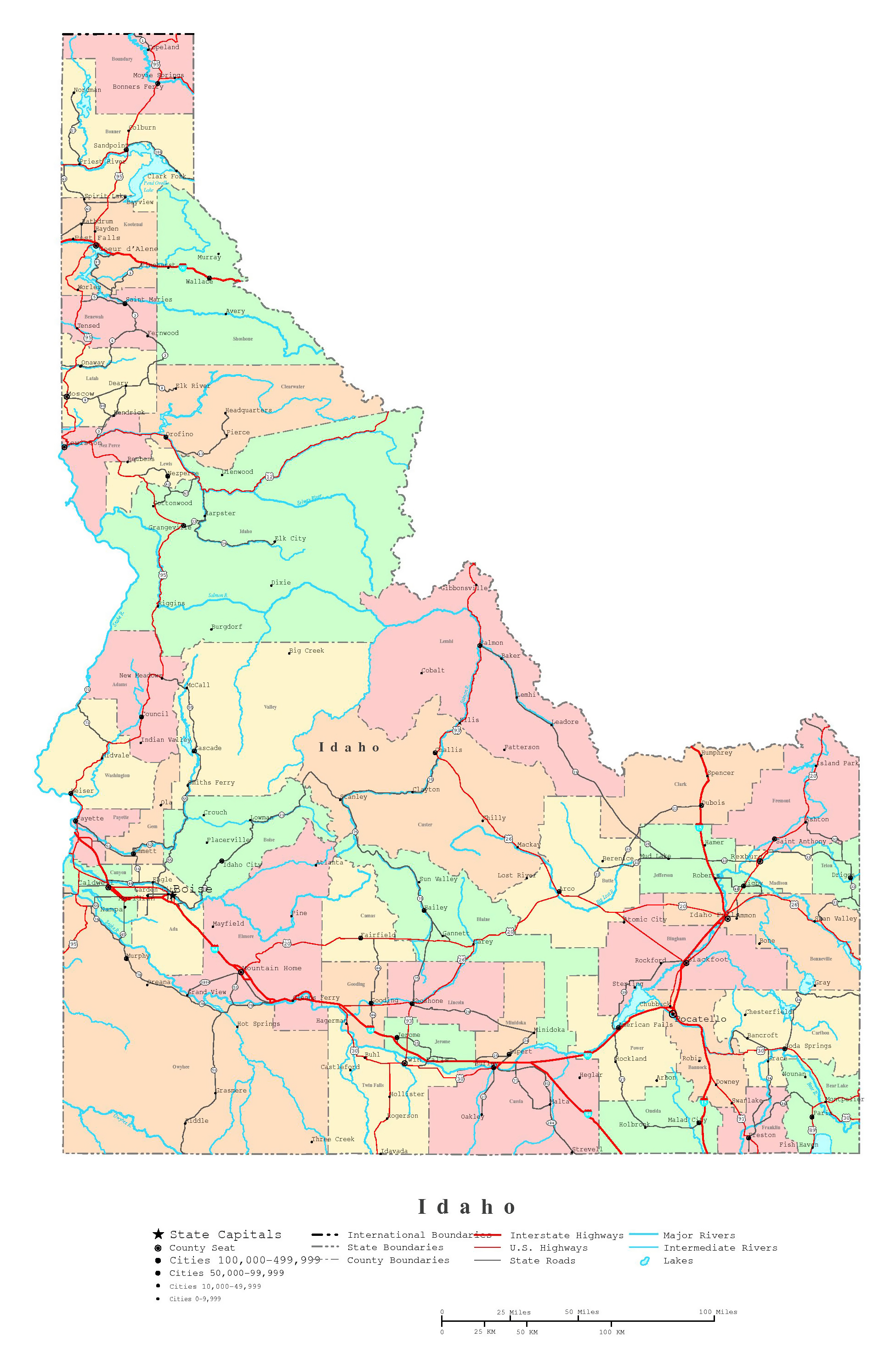 Large detailed administrative map of idaho state with roads large detailed administrative map of idaho state with roads highways and cities publicscrutiny