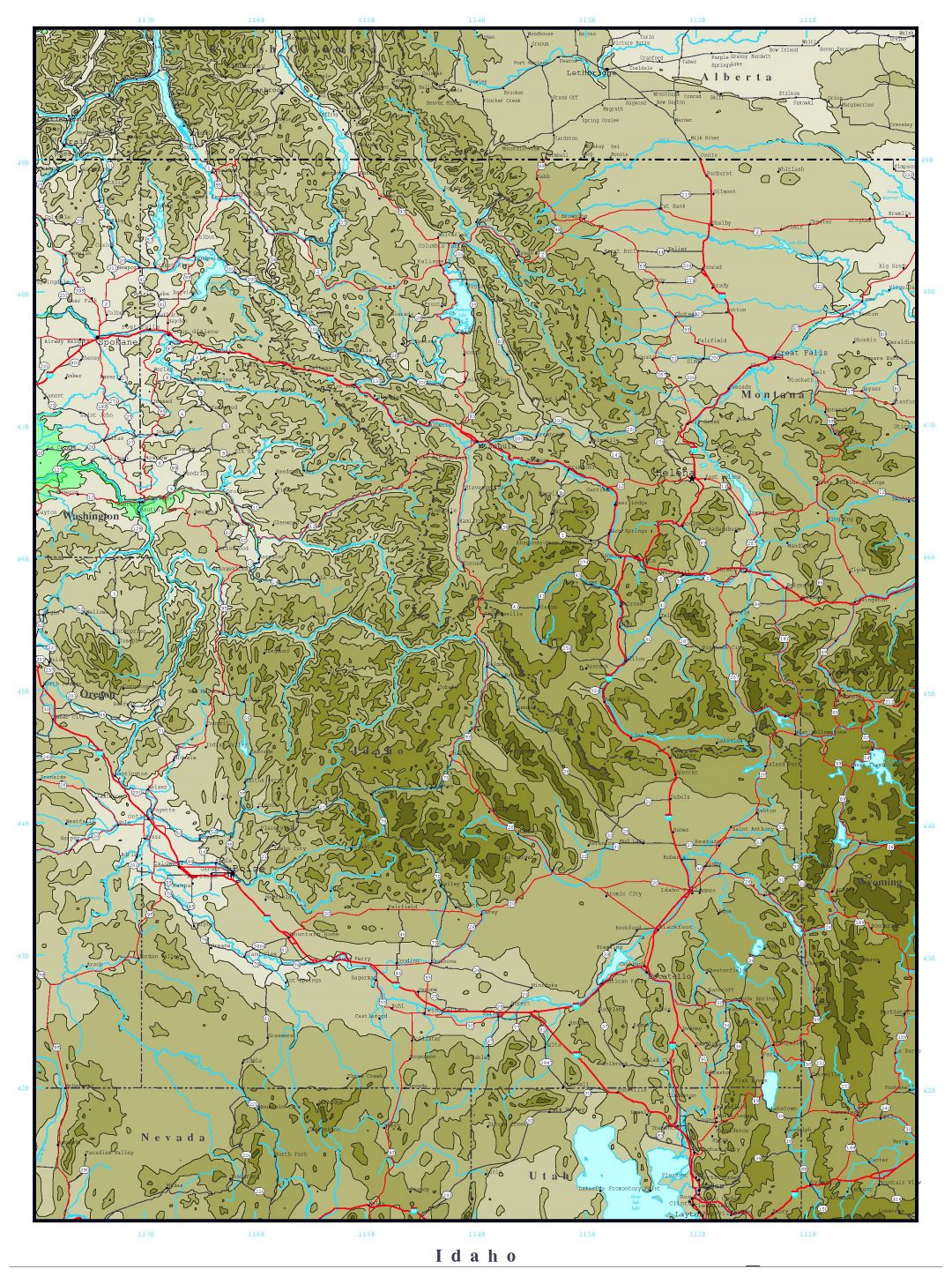 Large detailed elevation map of Idaho state with roads, highways and cities