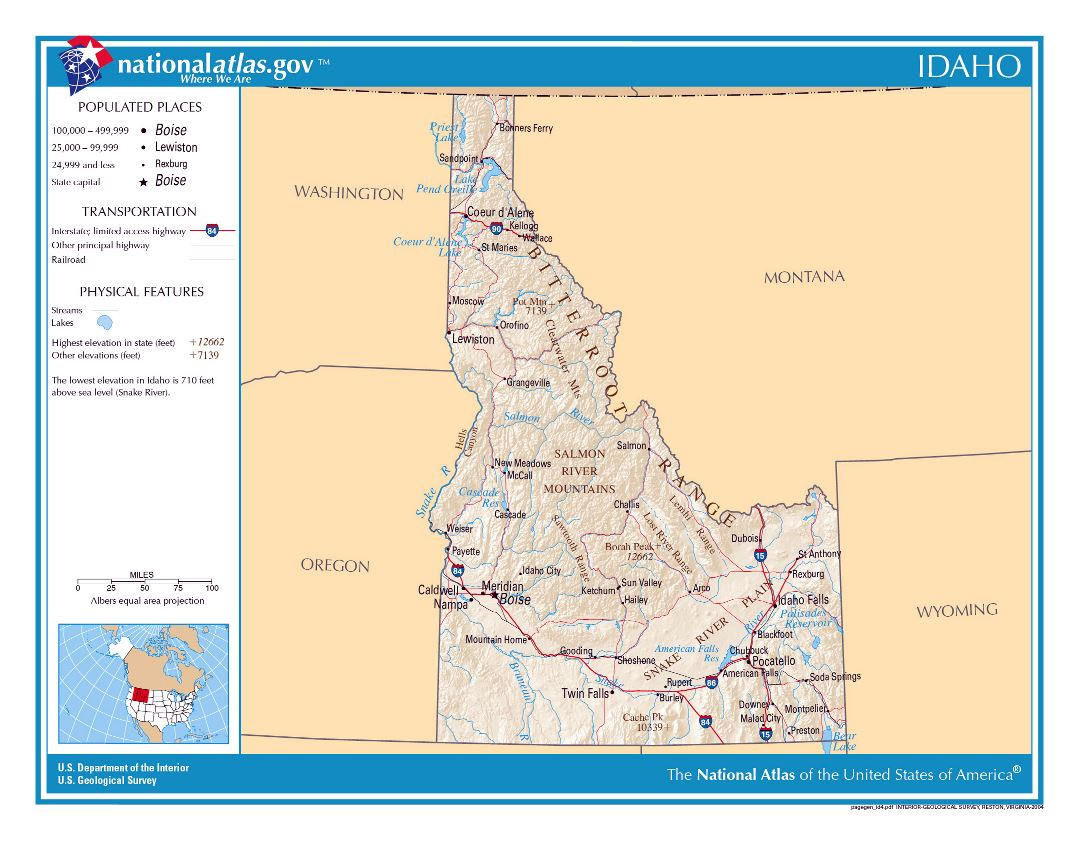 Large detailed map of Idaho state