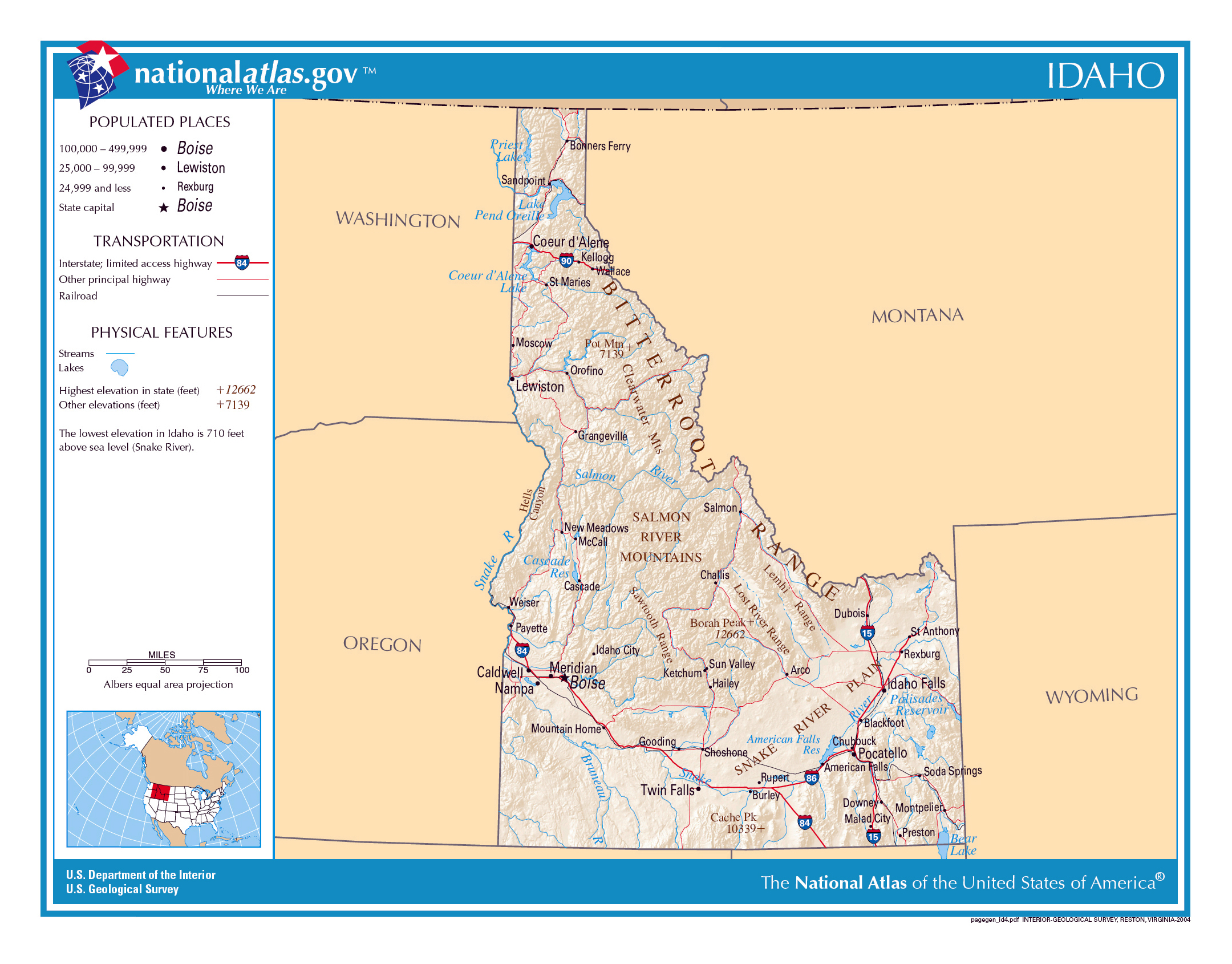 Large detailed map of Idaho state Idaho state USA Maps of the