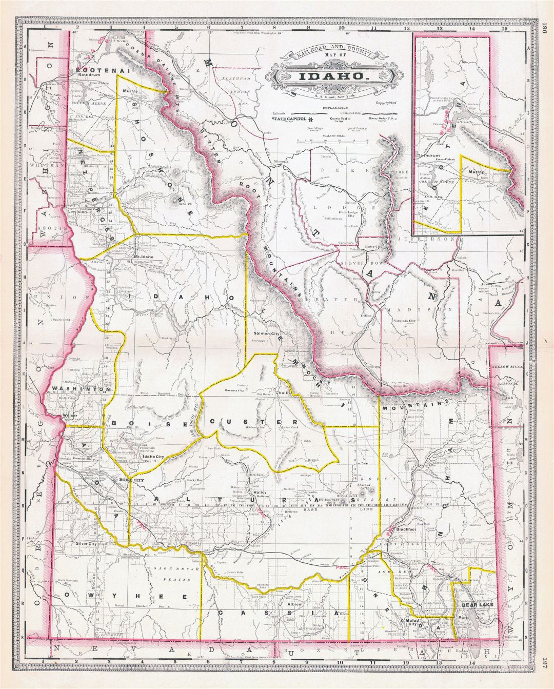 Large detailed old administrative map of Idaho state - 1887