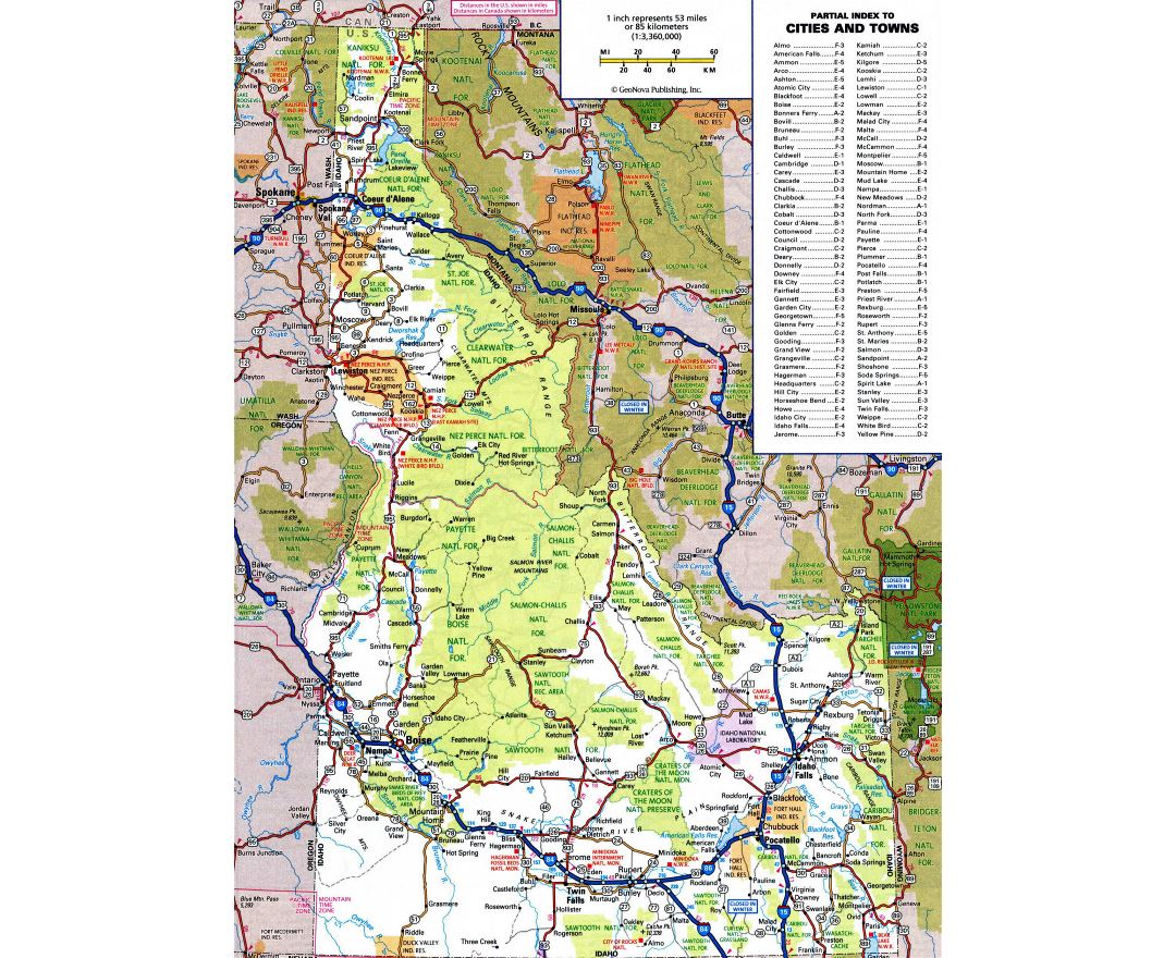 Maps of Idaho state Collection of detailed maps of Idaho state