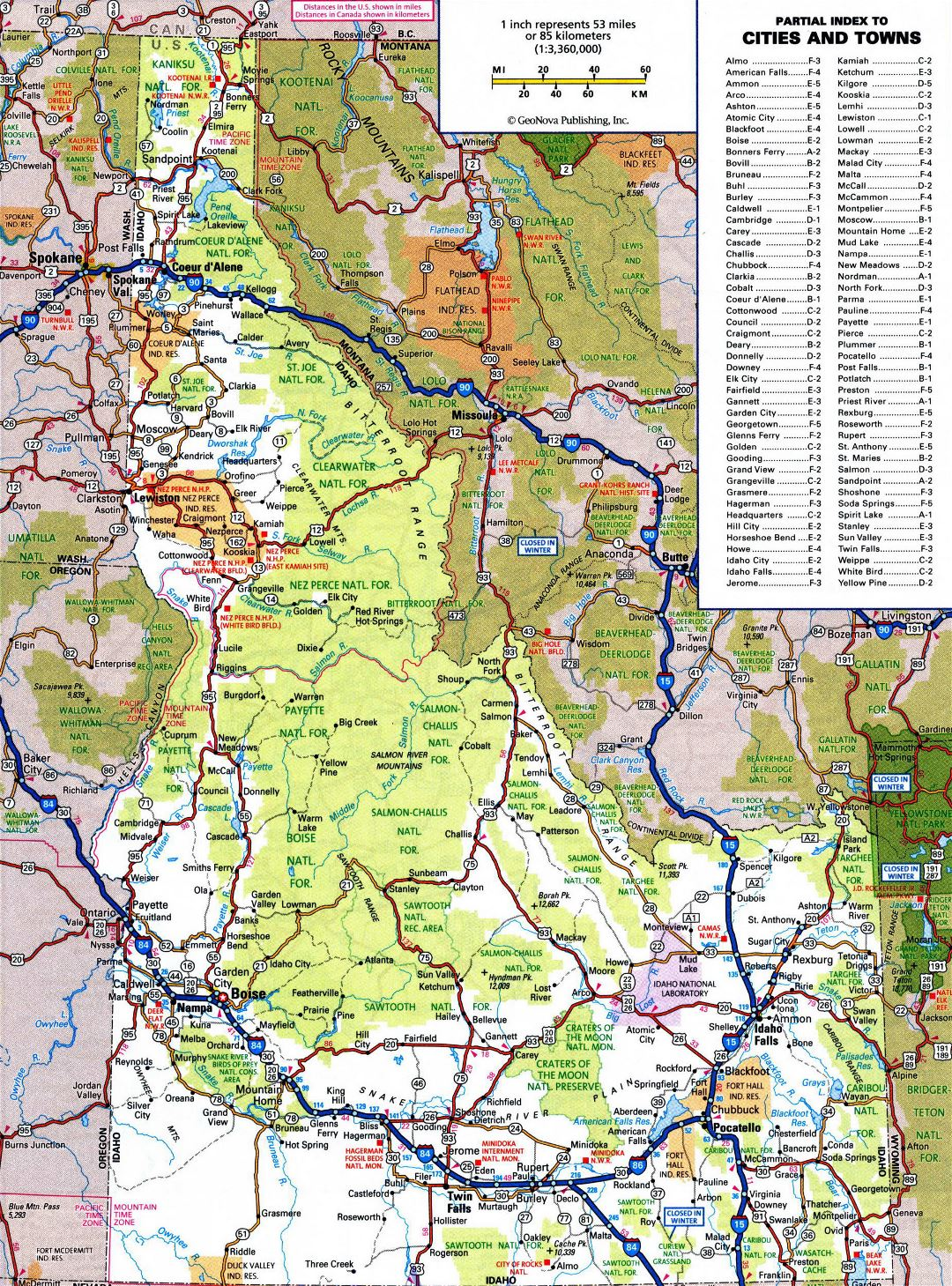 Large detailed roads and highways map of Idaho state with all cities and national parks