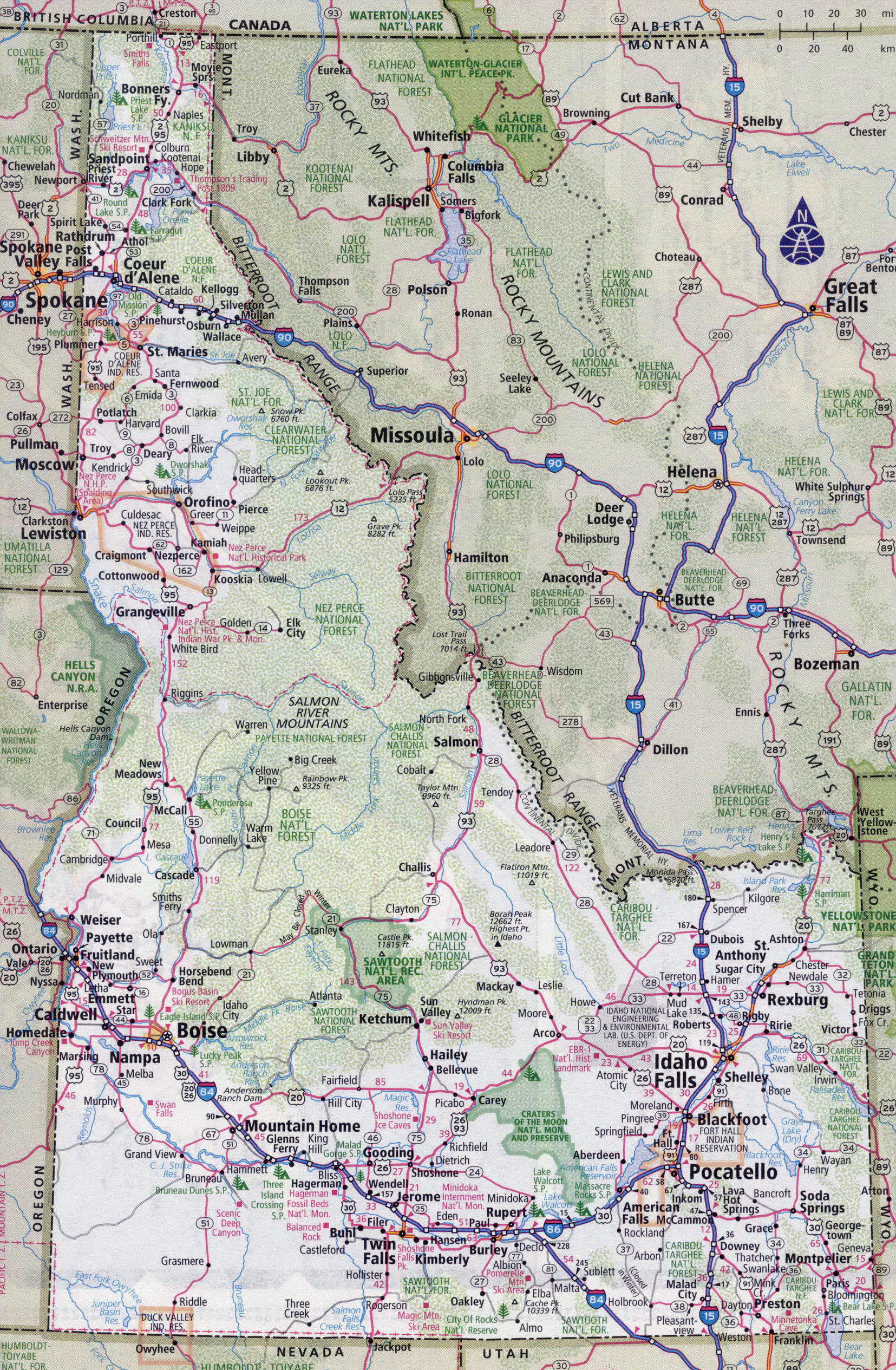 Large detailed roads and highways map of Idaho state with ...