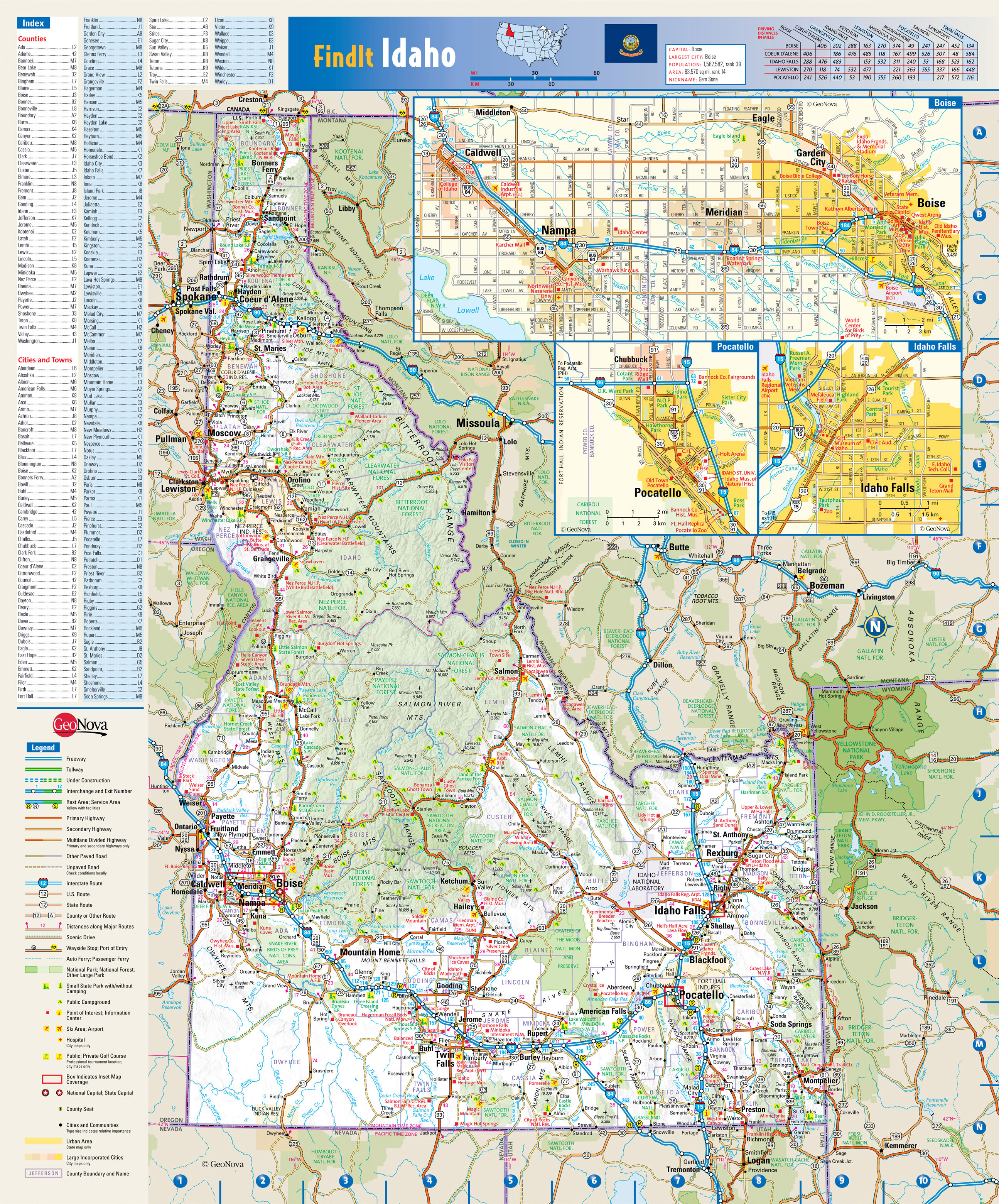 idaho map of cities and towns Large Detailed Roads And Highways Map Of Idaho State With National idaho map of cities and towns