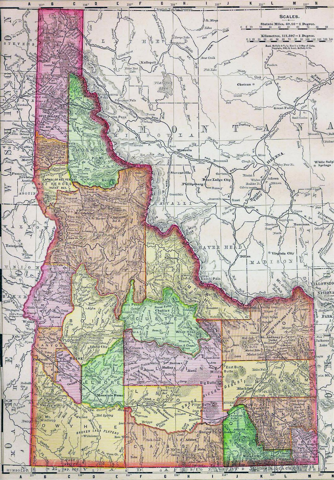 Large old administrative map of Idaho state with relief - 1895