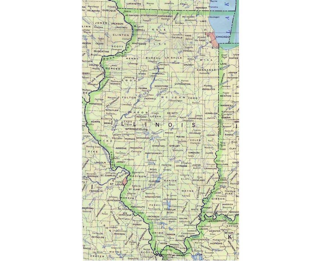 Administrative map of Illinois state