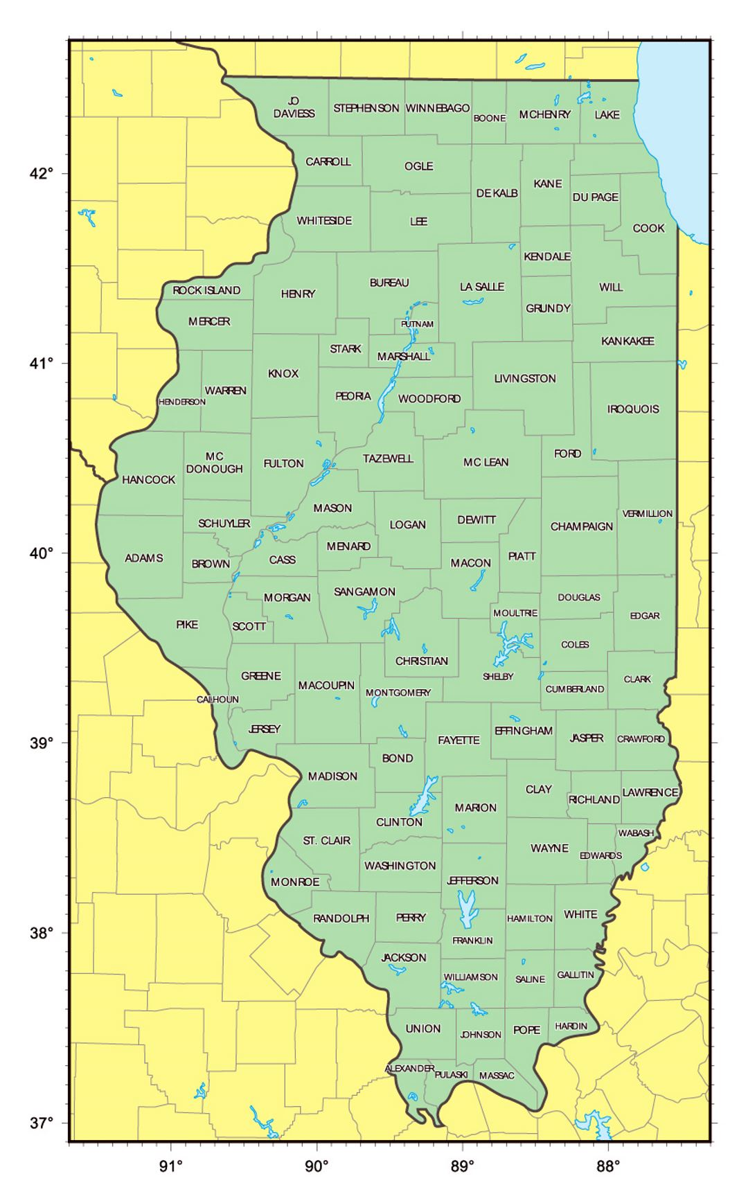 Detailed administrative map of Illinois state