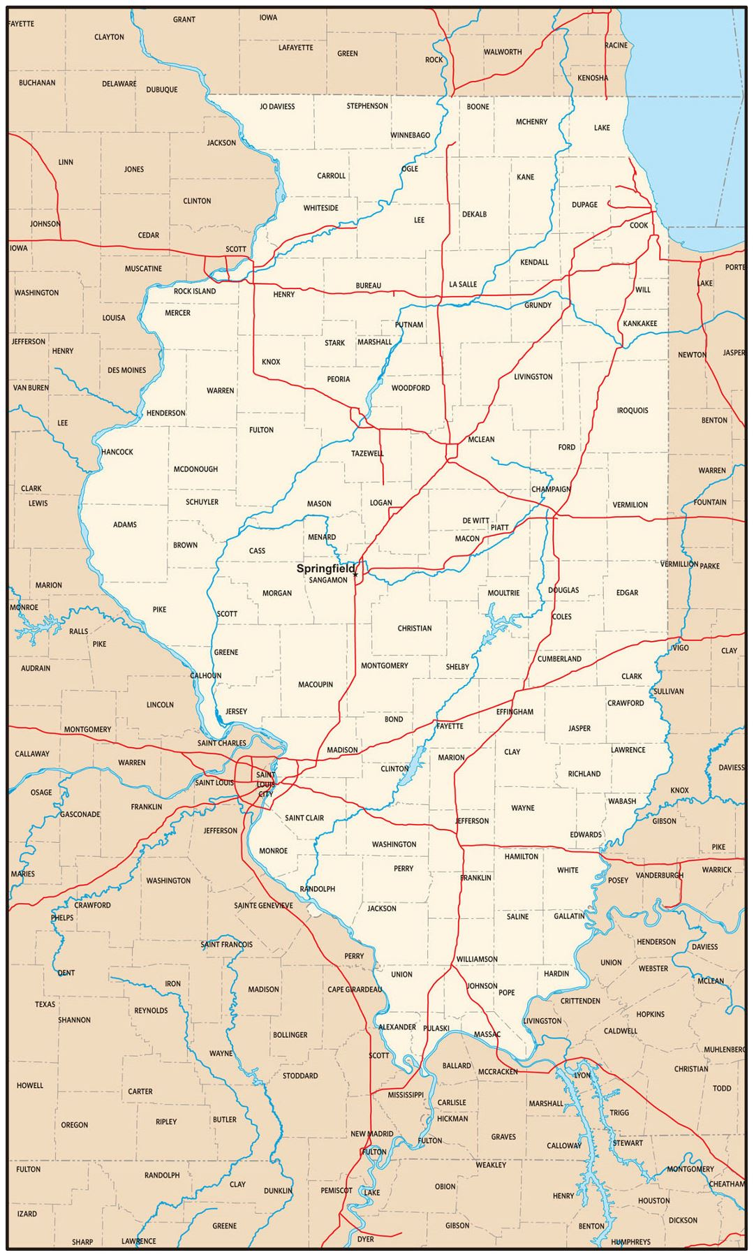 Large administrative map of Illinois state