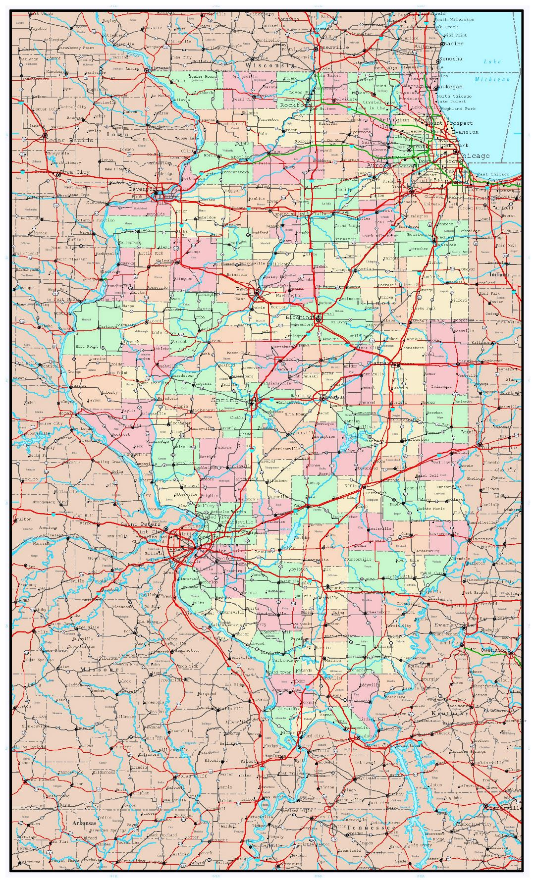 Large administrative map of Illinois state with roads, highways and major cities