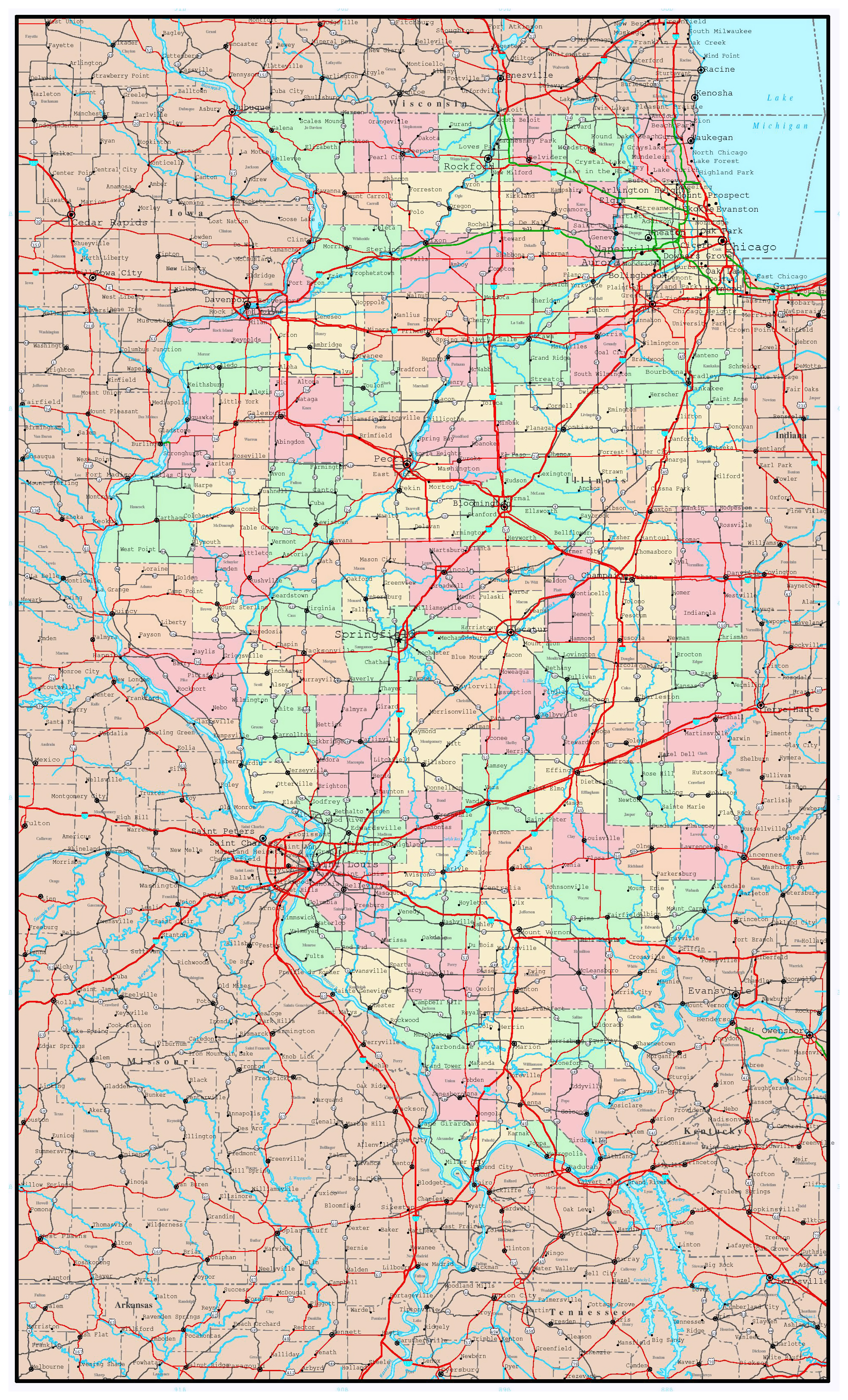 Large administrative map of Illinois state with roads ... on state of alabama, state time, state topography, state list, state parks in north alabama, state function, state of south dakota website, state newspaper, state puzzle, state of louisiana, state population density, state flag, state initials, state climate, state capitals, state city, state names, state populations in order, state of al counties, state of obesity,