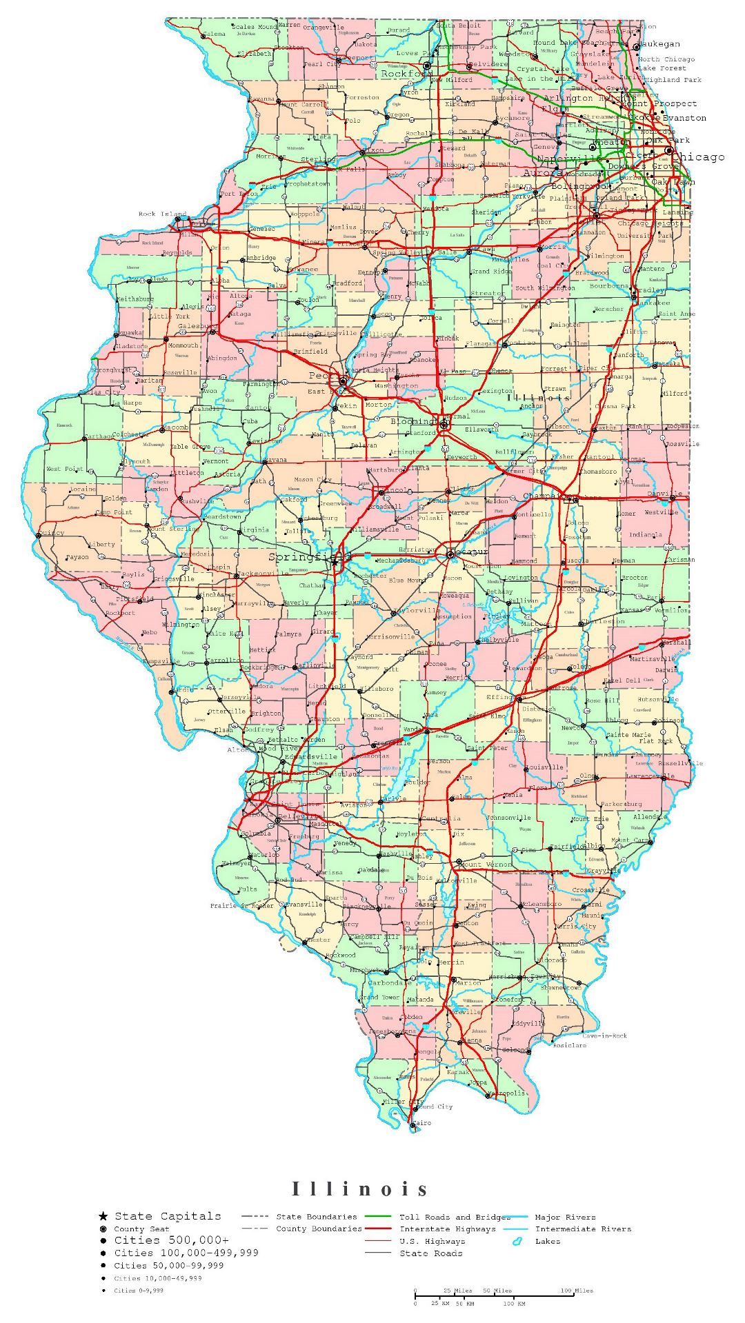 Large detailed administrative map of Illinois state with roads, highways and cities