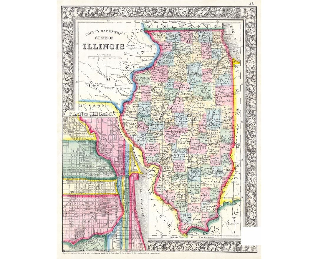 Large detailed old administrative map of Illinois state with cities - 1861