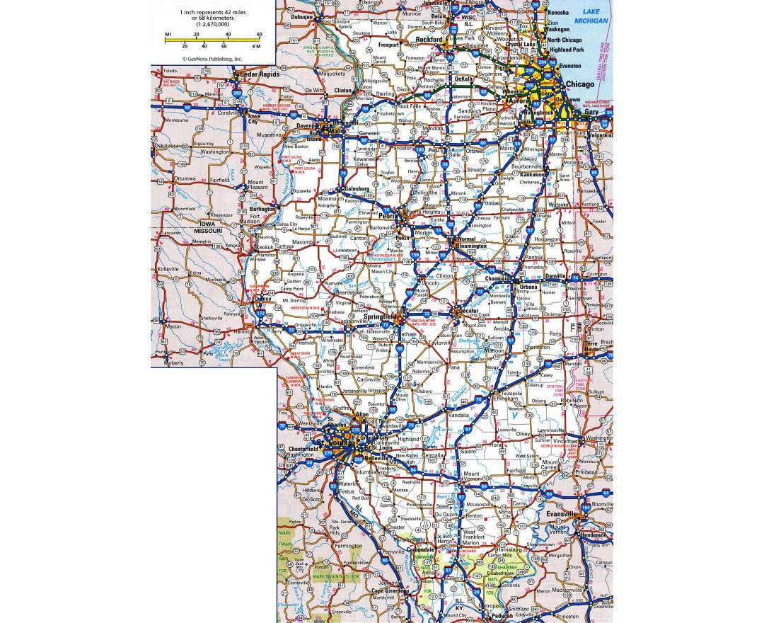 Large detailed roads and highways map of Illinois state with all cities and national parks