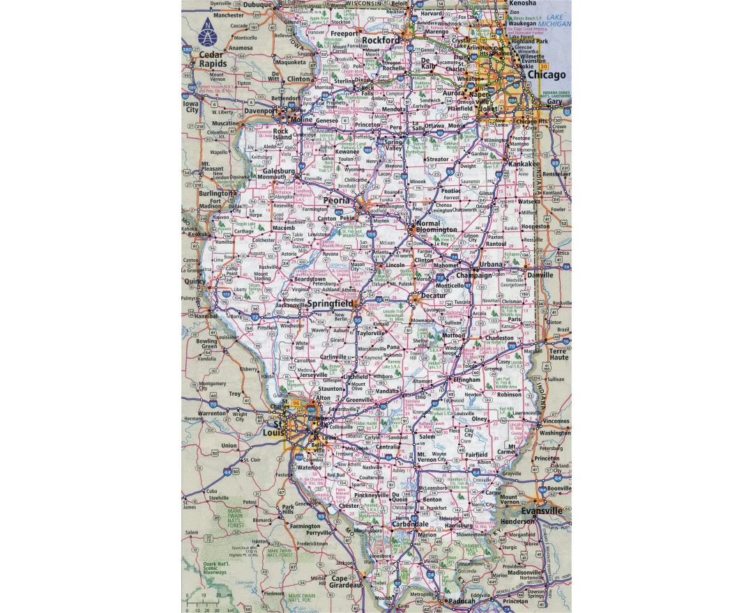 Large detailed roads and highways map of Illinois state with all cities