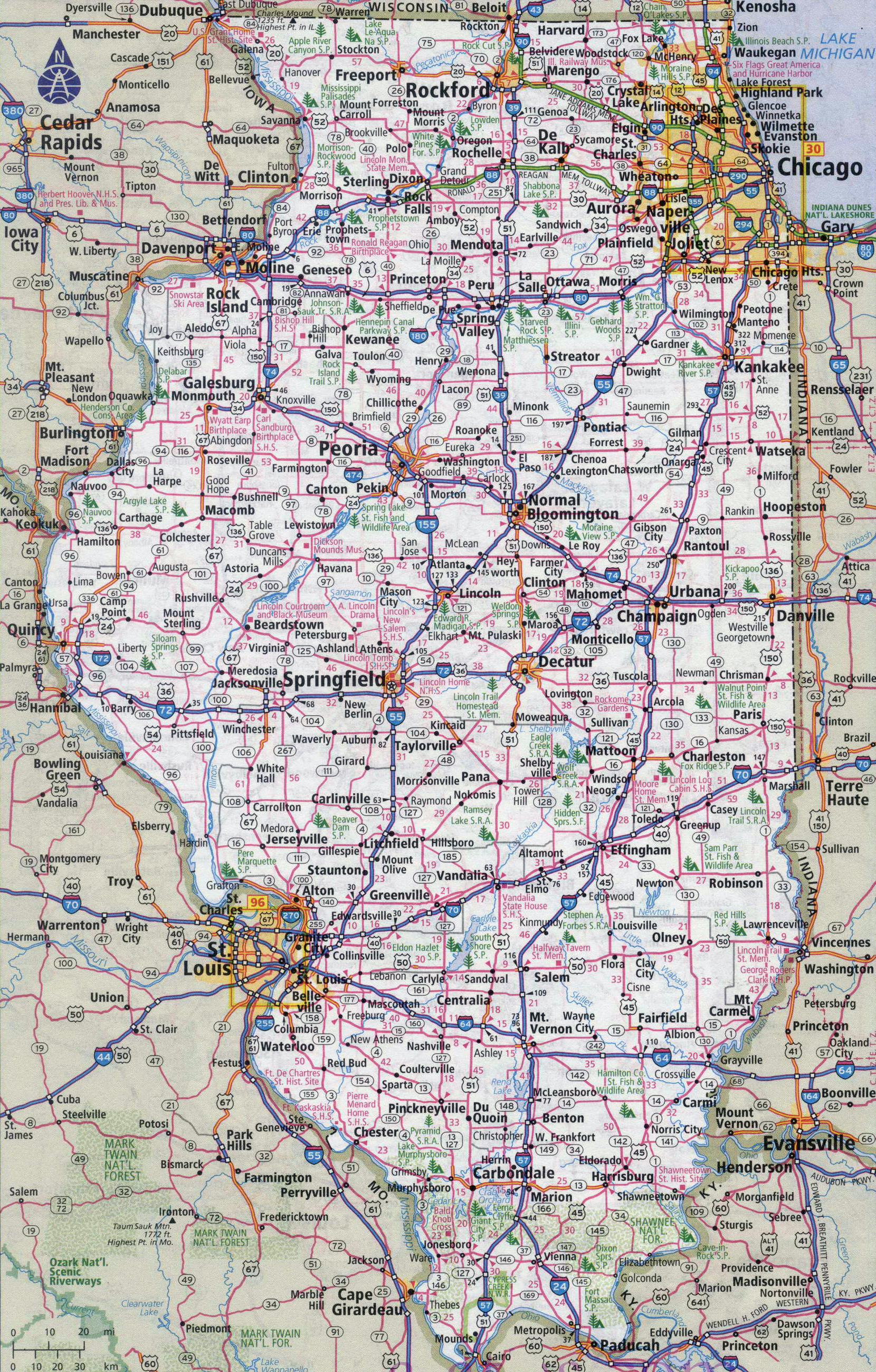 Large detailed roads and highways map of Illinois state with all ...