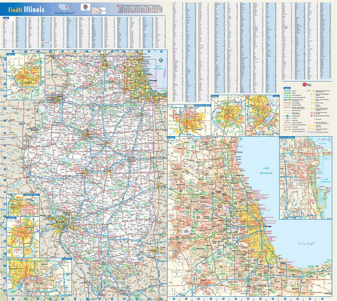Large roads and highways map of Illinois state with national parks, all cities, towns and villages
