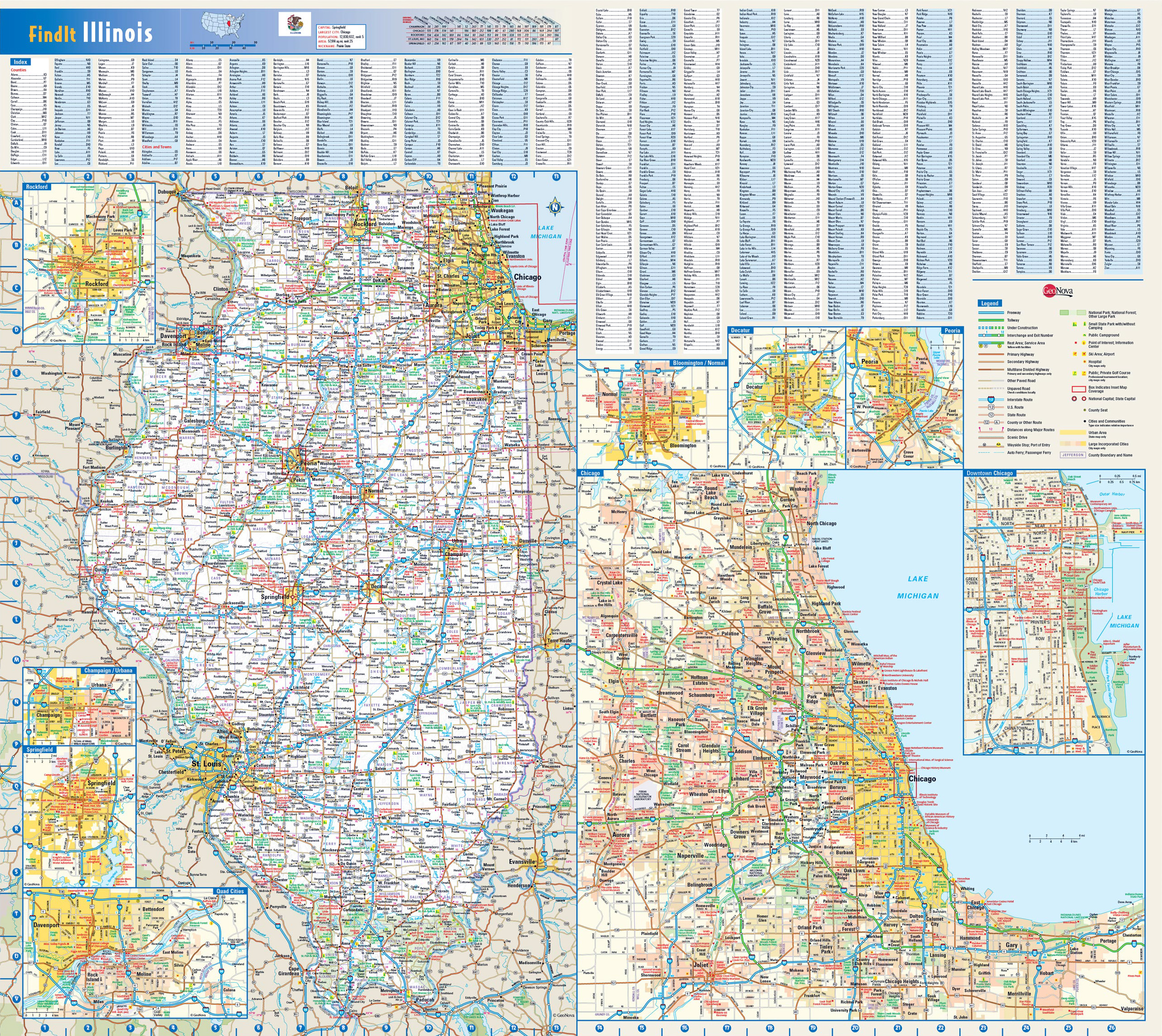 Worksheet. Large roads and highways map of Illinois state with national parks