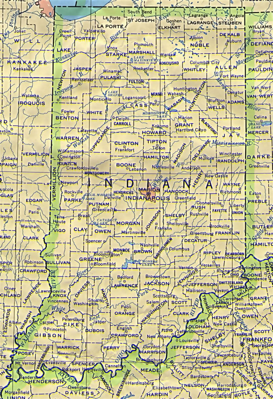 Administrative map of Indiana state