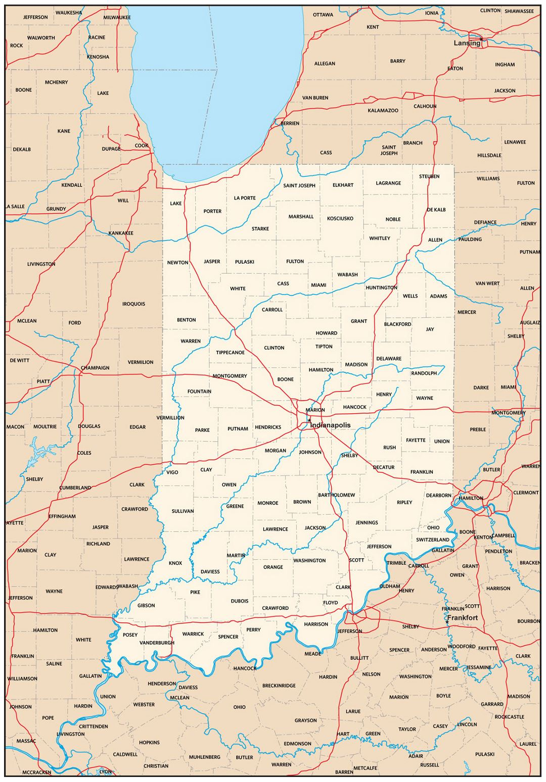 Detailed administrative map of Indiana