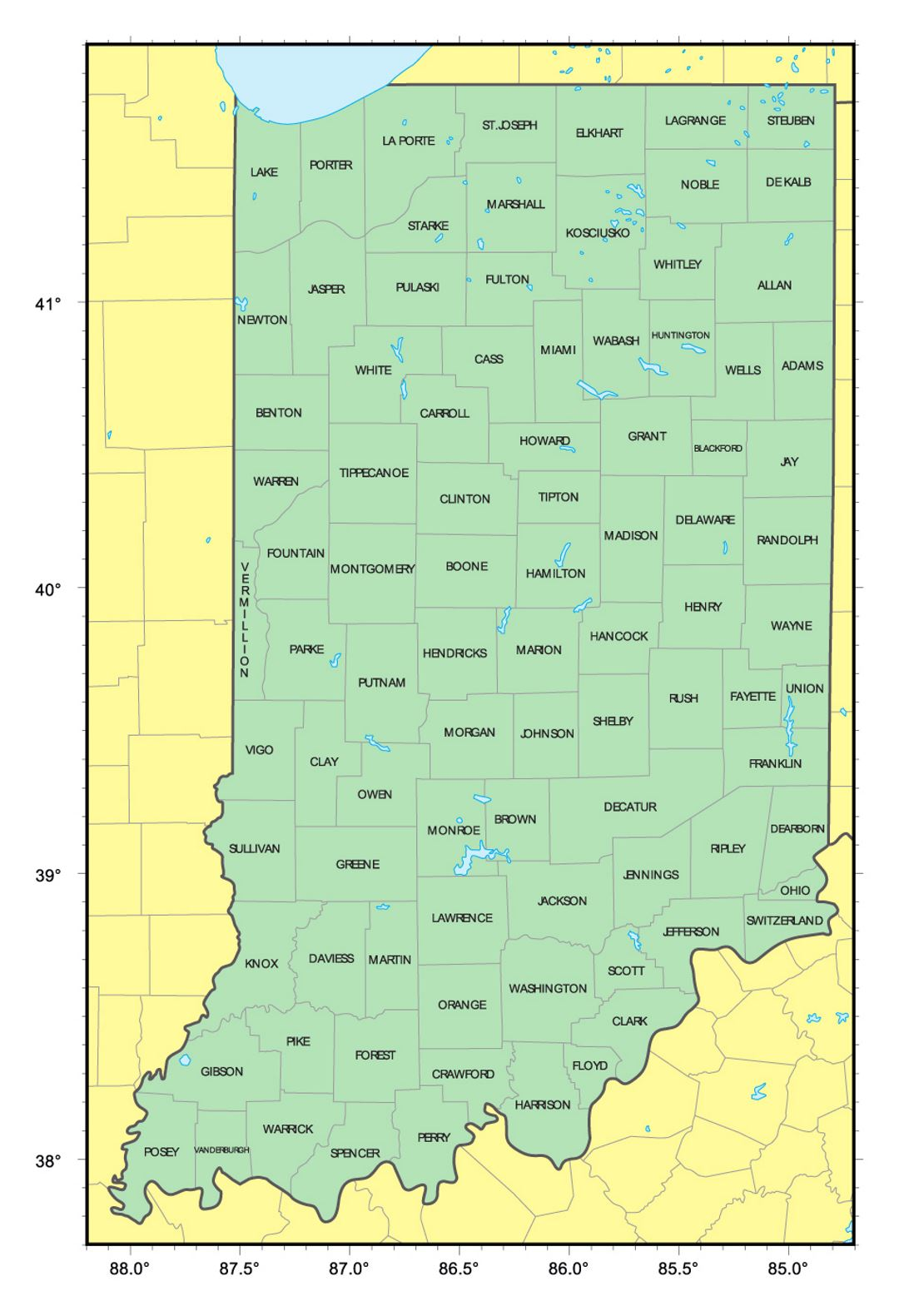 Detailed administrative map of Indiana state | Indiana state ... on transportation in indiana, butterflies in indiana, star in indiana, animals in indiana, weather in indiana, zip code map in indiana, usa map in miami, usa map in new jersey, dinosaurs in indiana, texas in indiana, home in indiana,