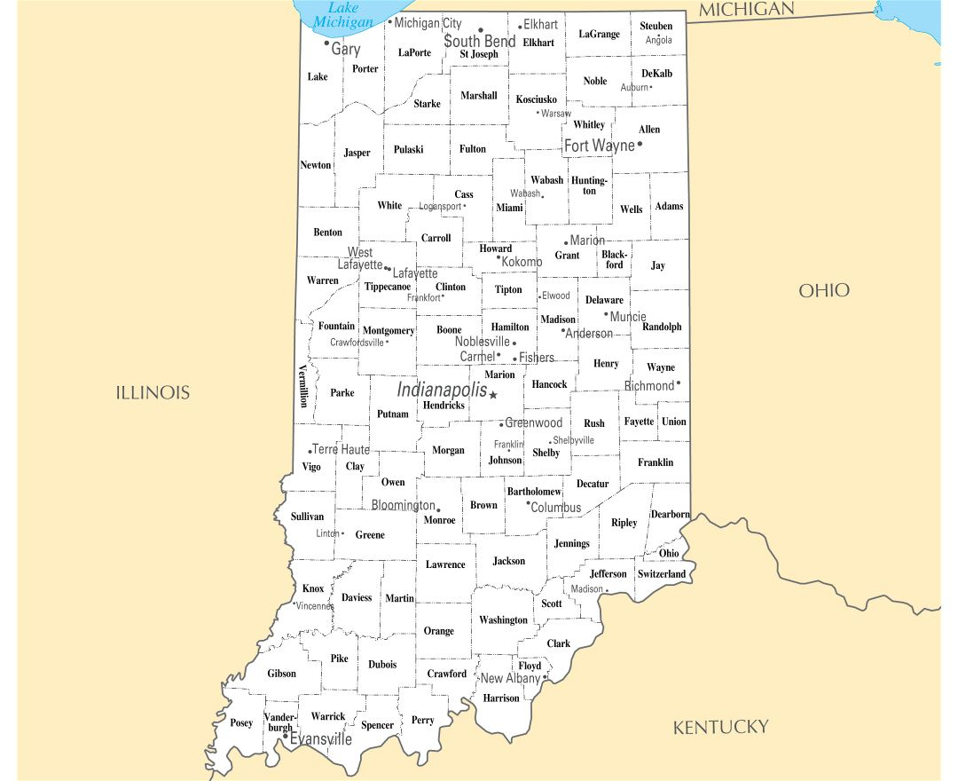 Maps Of Indiana State Collection Of Detailed Maps Of Indiana - Indiana physical map