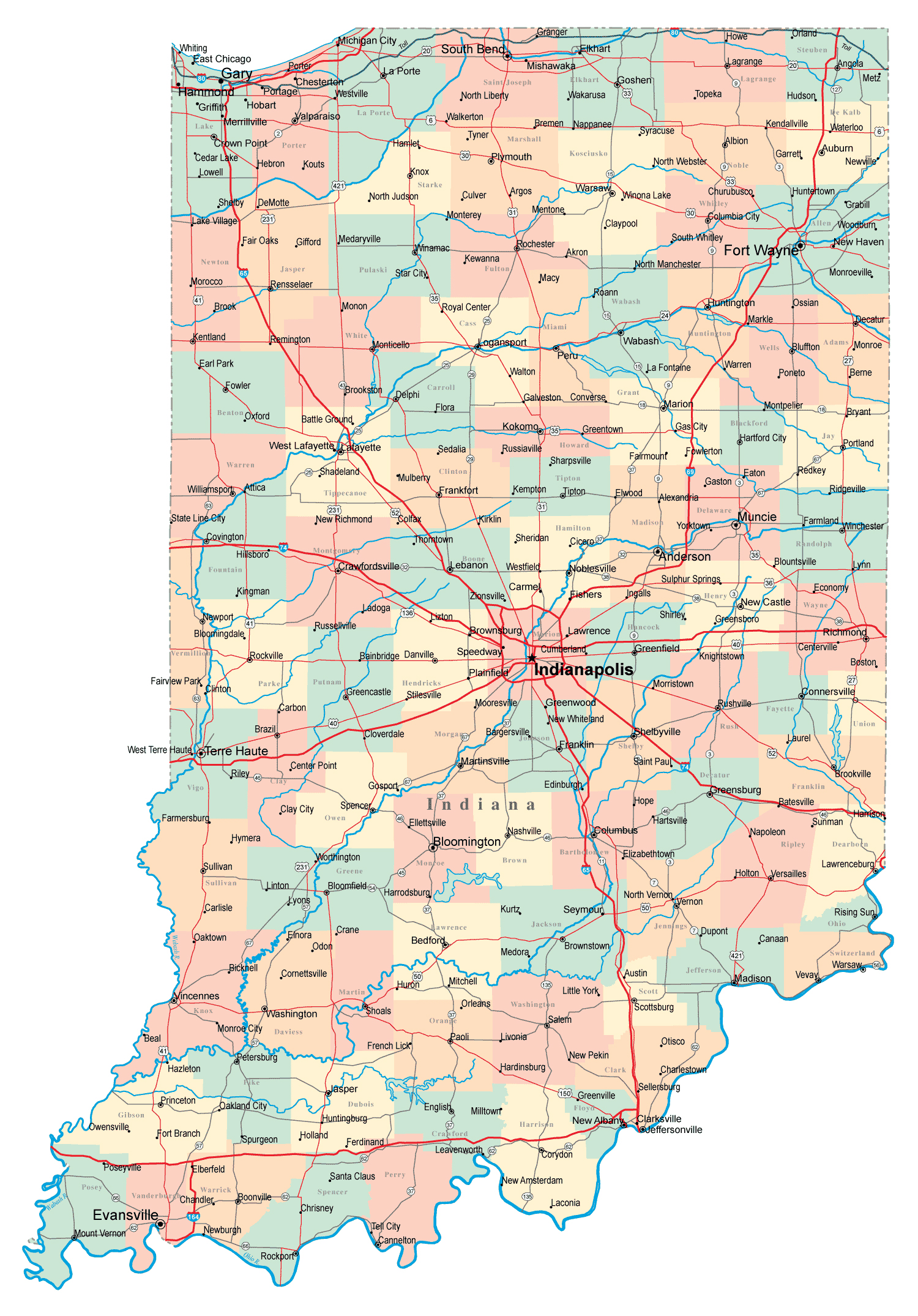 Large administrative map of Indiana state with roads, highways and ...