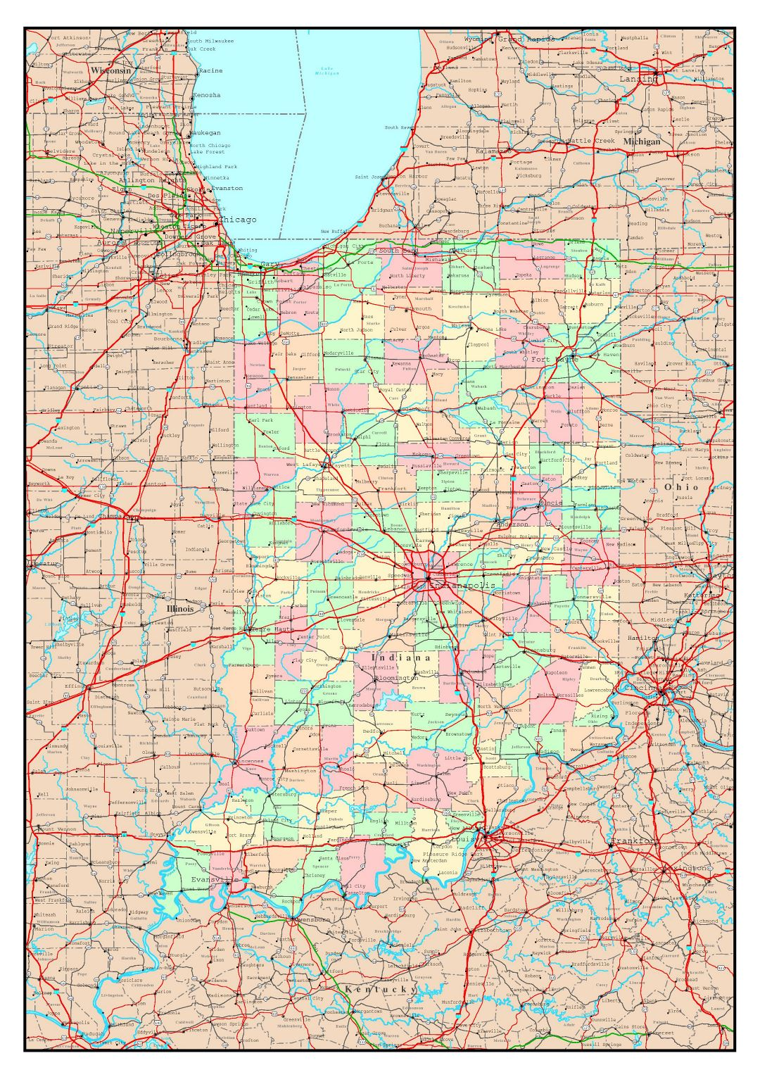 Large detailed administrative map of Indiana state with roads, highways and major cities