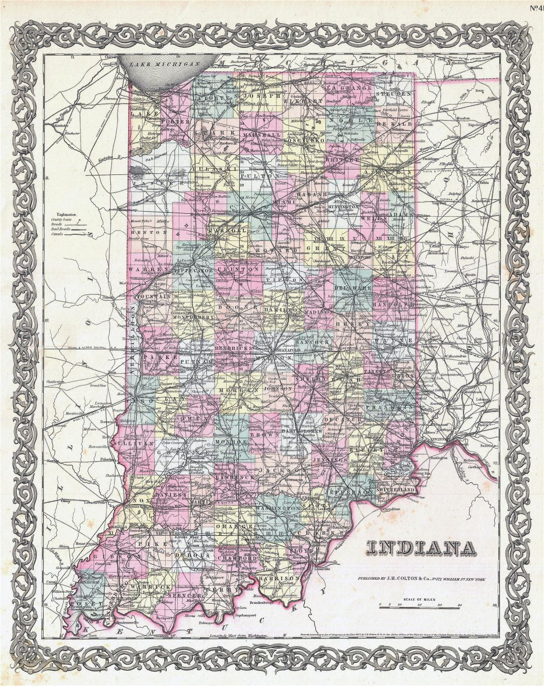Large detailed old administrative map of Indiana state with cities - 1855